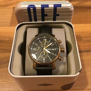 Fossil Black Leather/Gold Chronograph Watch Men's